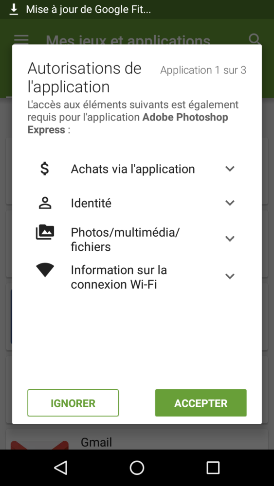 Et si Google utilisait des cases à cocher pour permettre les acceptations de mises à jours globales d'application. Aujourd'hui une à une