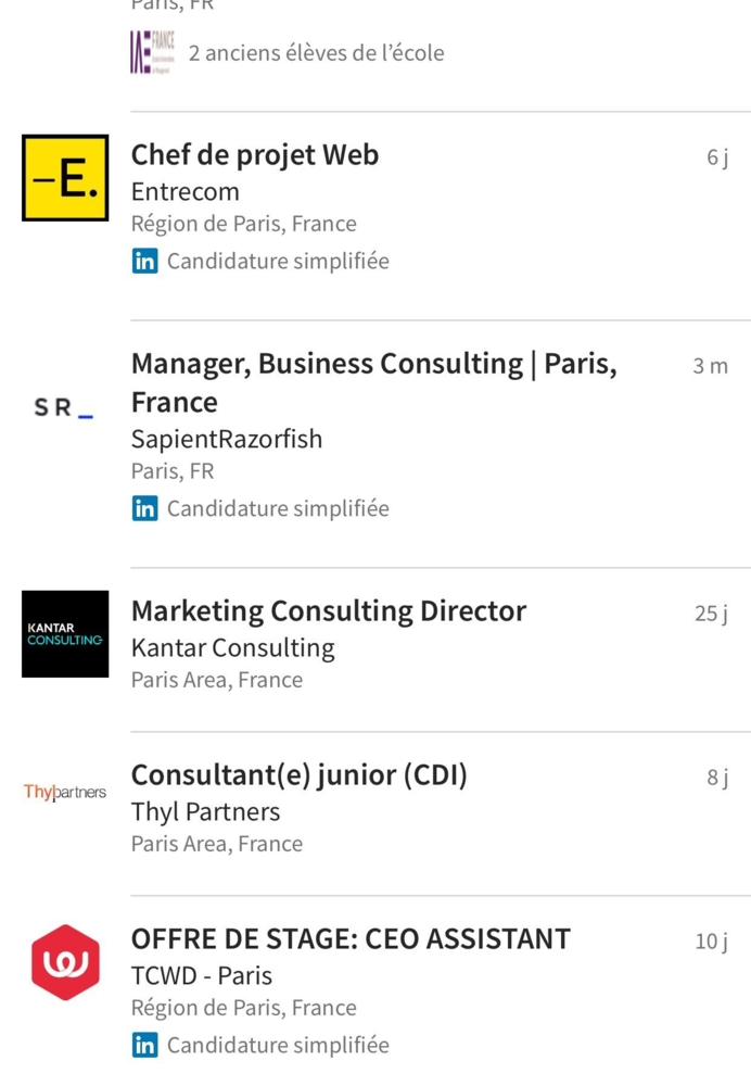 Et si Linkedin offrait des possibilités de tri des offres d'emploi par ex. en fonction de la date de diffusion ?