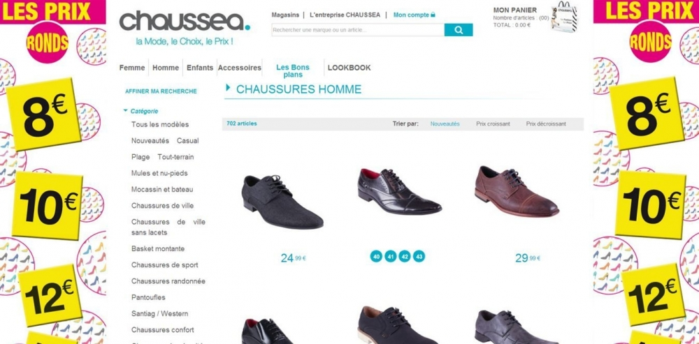 """Et si je pouvais cliquer sur le 8€ / 10€ etc des """"prix ronds"""" de Chaussea pour voir les modèles à ces prix?"""