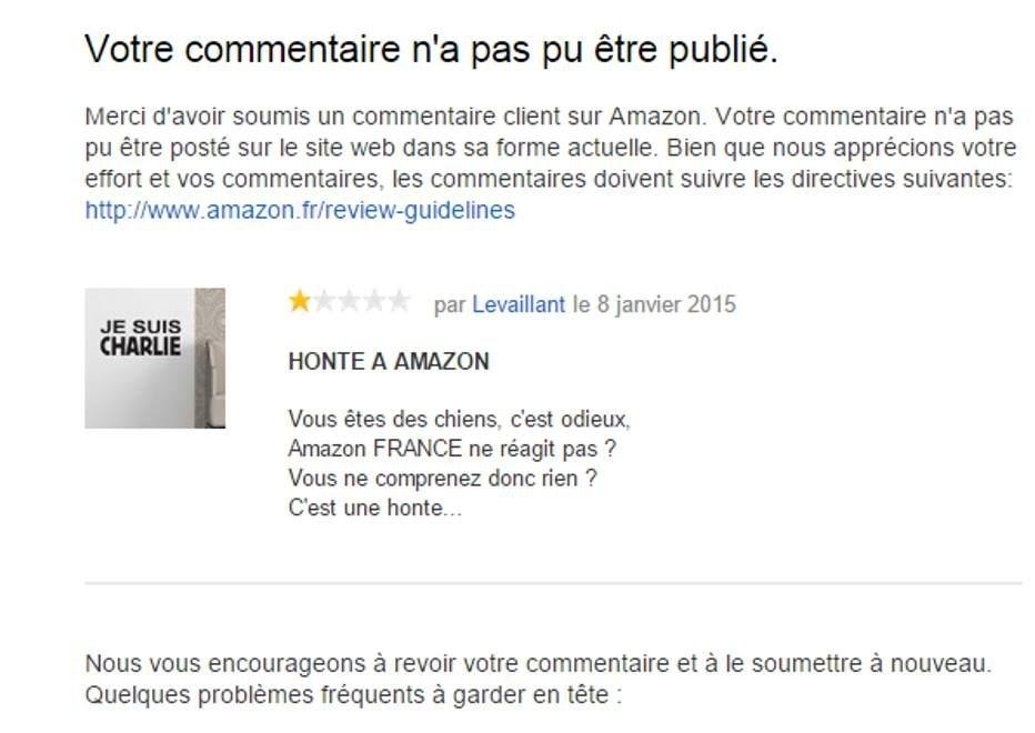 """Et si Amazon arrêtait de prendre des commissions et de se faire du cash sur des produits """"Je suis Charlie"""" et de censurer ses clients ?"""