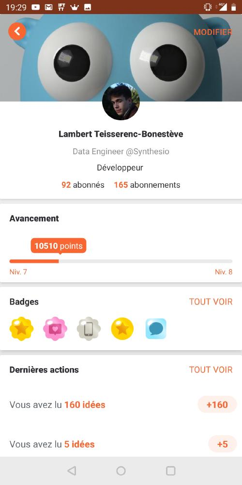 And if when you click on the card points on our profile this displayed the general ranking of the users of Braineet?