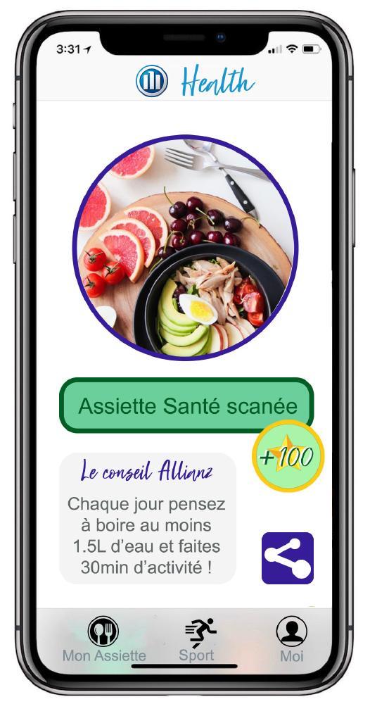 Et si Allianz proposait une app permettant de créer  un bonus sur ma complémentaire santé ? Scan de mon assiette avec algorithme qui m'attribue des points. Capteur de mouvements sur mon nombre de pas avec objectif et mode sport. Pour des clients en bonne santé et un tarif juste.