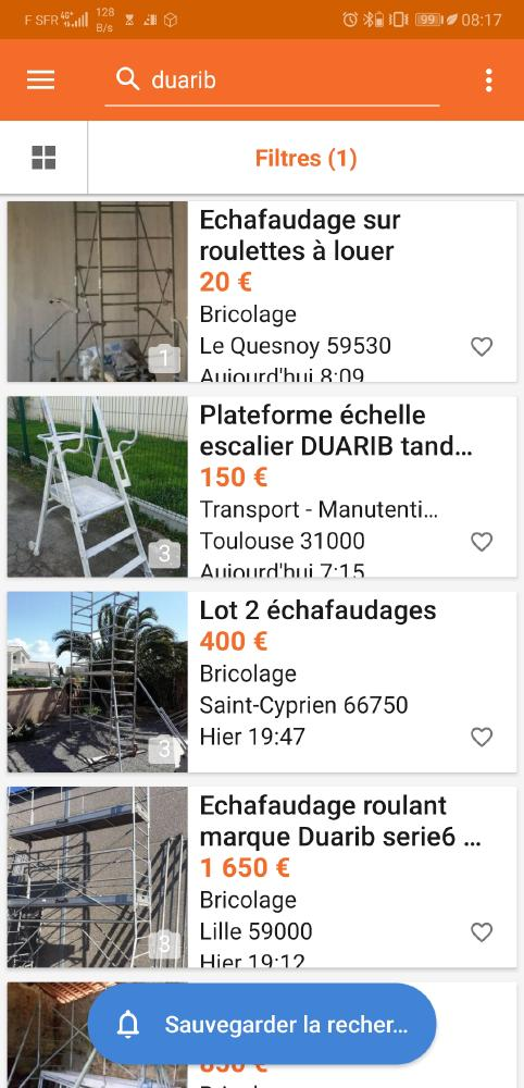 And if duarib contacted the scaffolding vendors duarib on various sites to use their photos, and youtubers creating tutorials: https://www.leboncoin.fr/Recherche/?text=Duarib