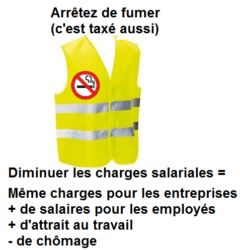 Et si les gilets jaunes arrêtaient de fumer (surtaxé): ils feraient des économies, et pourraient nourrir leurs enfants!  Et...Oui pour une augmentation des salaires, mais en défiscalisant une partie du salaire pour que l'écart avec les aides Pôle Emploi augmente (car cela n'incite pas à travailler)