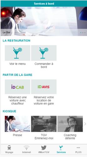 Bonjour,Si le service est éligible sur votre train vous pouvez :-    Commander avant ou pendant le voyage sur http://lebartgv.sncf.com -    Commander depuis le portail TGV ConnectMerci pour votre suggestion.