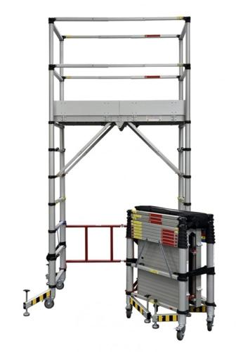 Duarib propose déjà un échafaudage télescopique, à montage rapide moins de 3 mn et qui fait 0,39 mètre cube en replié. Merci de votre participation.
