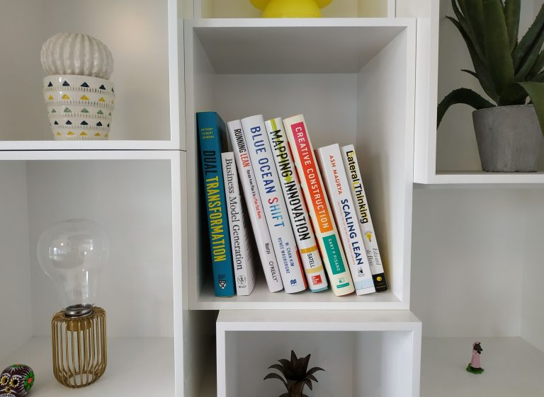 Innovation books on a shelf