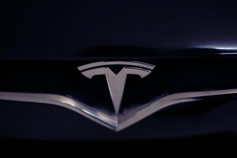 Tesla Logo On Car