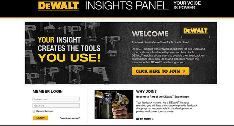 Dewalt Insights Panel